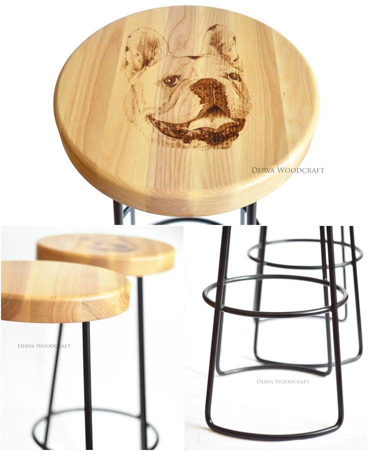 Bar stool. Ash wood and steel. Handmade custom pyrography