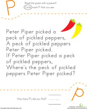 How many P's appear in Peter Piper's perplexing poem? Kids find and count each letter P in the tongue twister on this kindergarten reading worksheet.