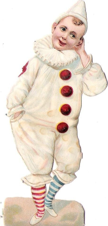 Oblaten Glanzbild scrap die cut chromo Kind child Clown Harlekin pierrot
