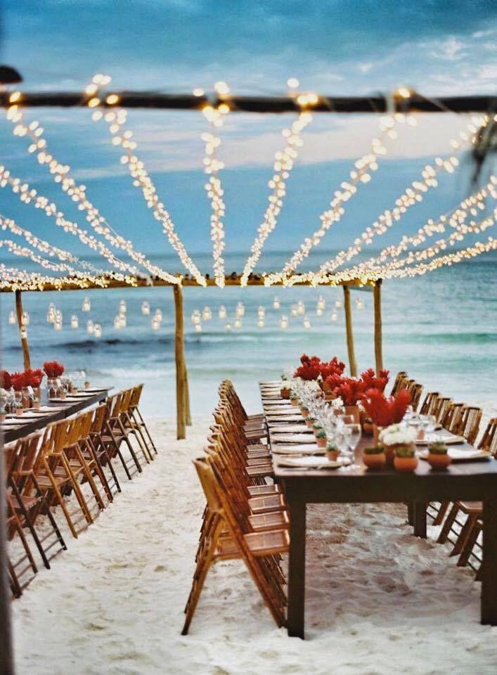 You Don T Need The Sun For A Beach Wedding Gorgeous Lighting Themed Weddingssummer