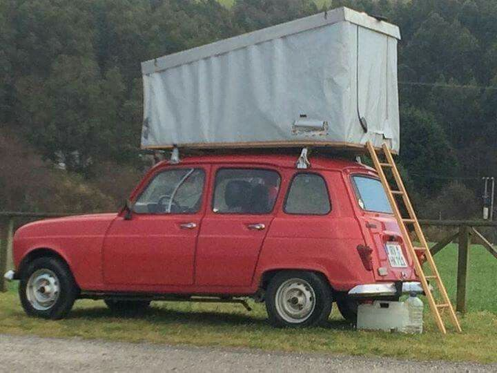 Renault 4 - clever car tent invention!