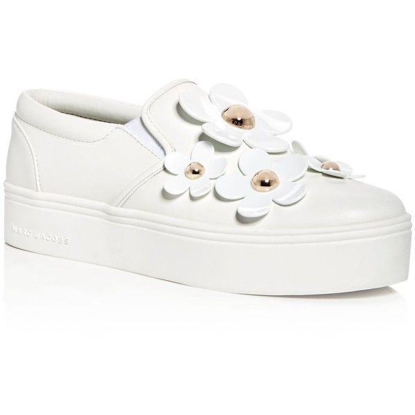 Marc Jacobs Women's Daisy Leather Slip-On Platform Sneakers ($240) ❤ liked on Polyvore featuring shoes, sneakers, white, platform sneakers, pull-on sneakers, genuine leather shoes, leather slip on sneakers and leather trainers