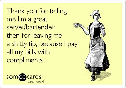 Funny Thanks Ecard: Thank you for telling me I'm a great server/bartender, then for leaving me a shitty tip, because I pay all my bills with compliments.