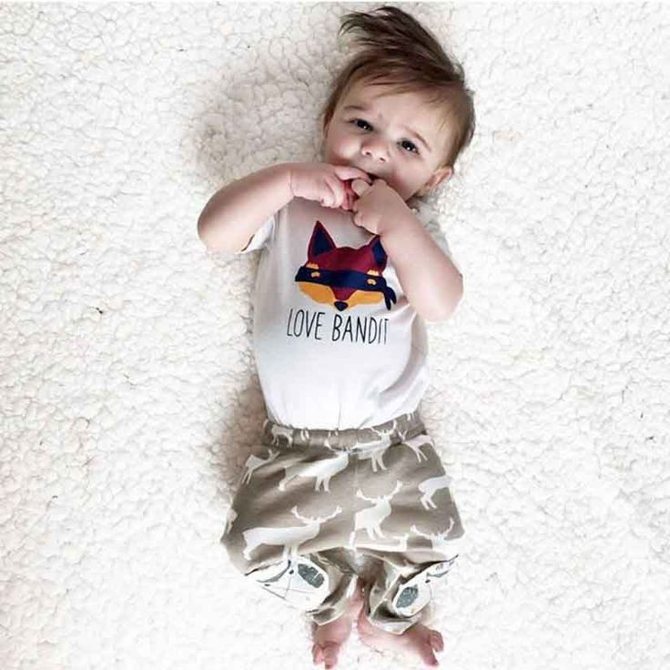 2016 Fall New Summer boys clothing set short-sleeve T-shirt white Fox +deer pants 2 pcs / Set Girls Random set of clothes