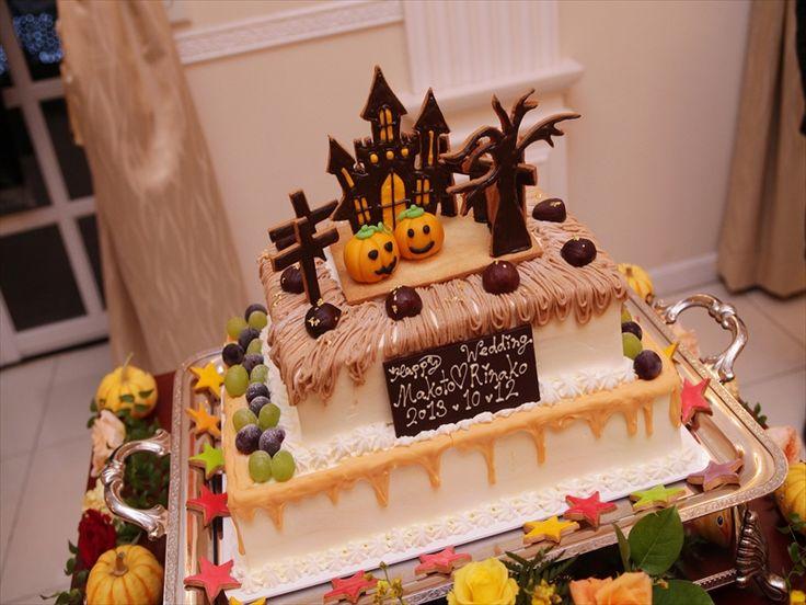 052 テーマウェディングをハロウィンにされた、新郎新婦様オリジナルのケーキ!今にも踊りだしそうな可愛いパンプキンカラーが素敵!
