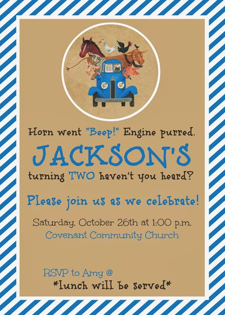 Cute little blue truck invite. Blog of Little Blue Truck birthday themed party!!!
