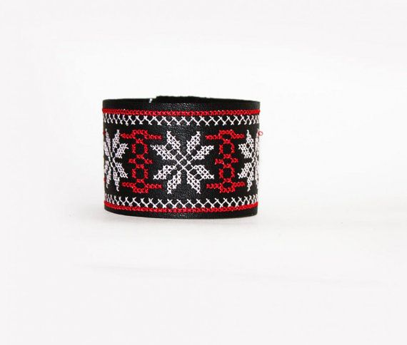 Ethnic Embroidered Leather Bracelet  White and by EtnoWareStore
