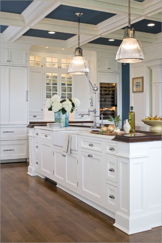 fresh white and navy kitchen | love the idea of a bold color on the ceiling divided by beams