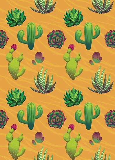 """""""Cactus Assembly"""" by Paula Lucas. Fun pattern with cacti, succulents and general dessert plants."""