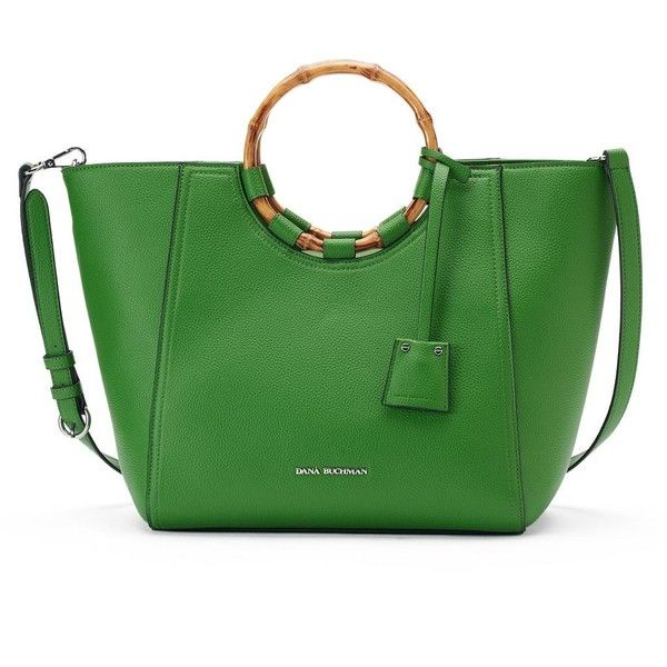 Dana Buchman Lucille Tote ($62) ❤ liked on Polyvore featuring bags, handbags, tote bags, jackets, skirts, med green, tote handbags, green tote, green tote bag and vegan tote bags