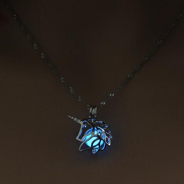 Glow in the Dark necklace Unicorn silver Chain Jewelry Pendants & Necklace Gorgeous Glowing Unicorn Necklace 🦄  Get yours here: http://bit.ly/2A1tCmZ  #unicorn #fairytale #mystical #glow #jewelry #mythical #wowow