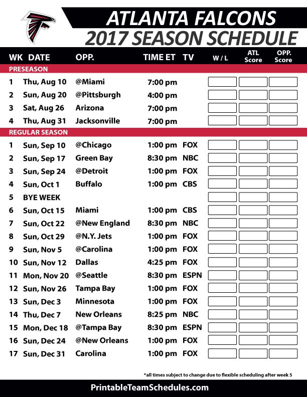 Atlanta Falcons Football Schedule 2017