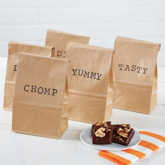 Rubber Stamped To-Go Bags