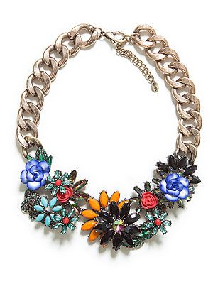 Crystal flowers in bright hues, multi-coloured diamantes and chunky gold chain… our simple white tees are crying out for this statement necklace.