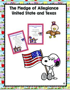 This are The Pledge of Allegiance United States and Texas. You will find both of them with 5 different back ground. Peanuts, Polka dots, and Chevron.