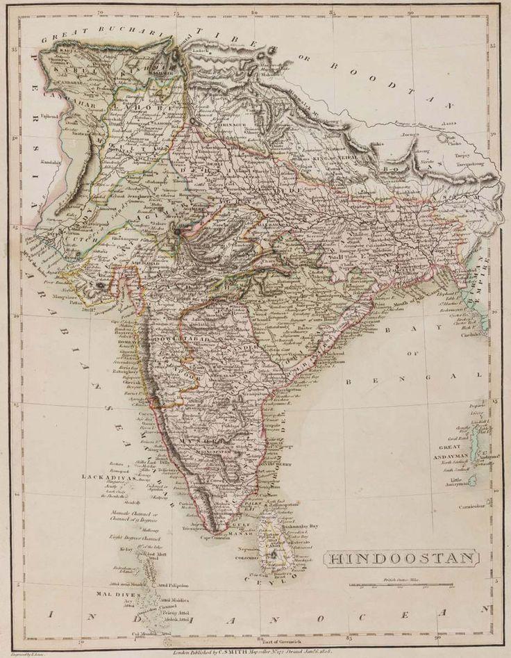 "India, 1808 ""Hindoostan"" #map #india"