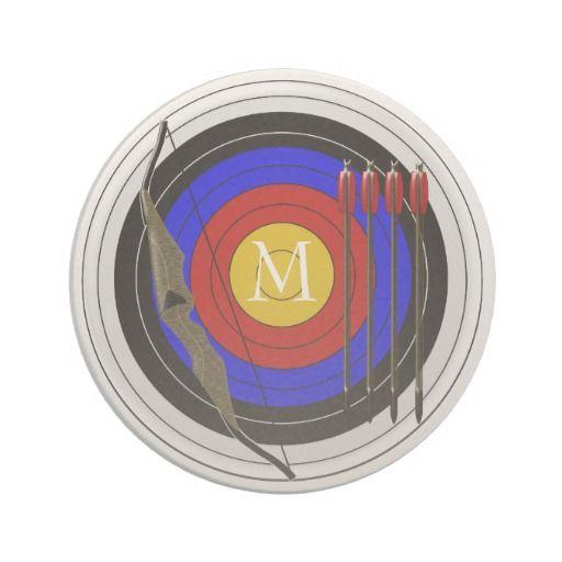 #Monogrammed #Archery Design #Sandstone Drink Coasters.  Click the artist's biglnet Zazzle store.