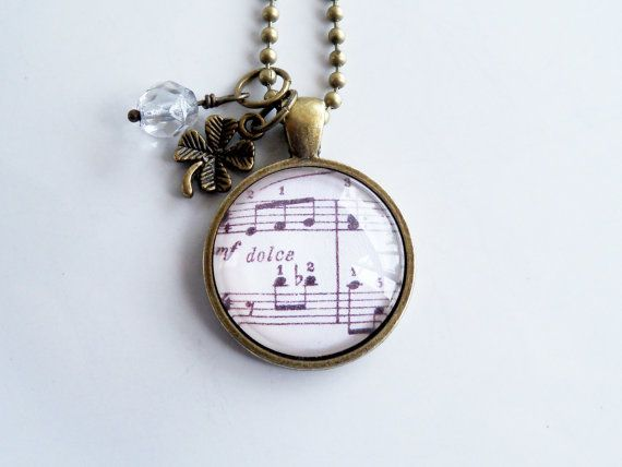 Music Necklace  Londonderry Air Pendant  Irish Air by OxfordBright