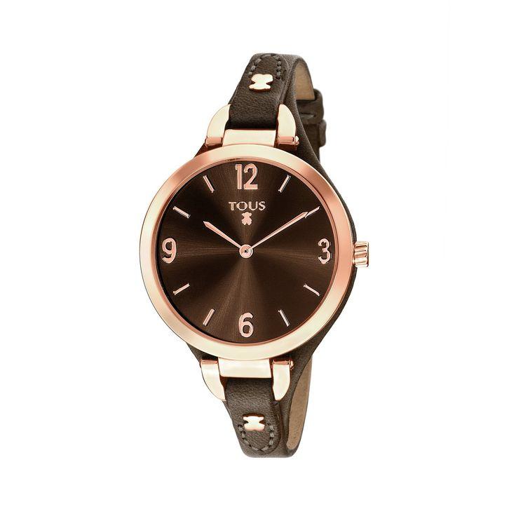 Reloj Bohème de acero IP rosado con correa de piel marrón - Tous