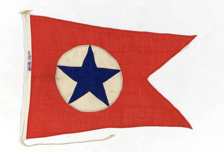 The house flag of the Blue Star Line Ltd, London. A red swallow-tailed pennant bearing a white disc with a blue five-pointed star (introduced in 1928).