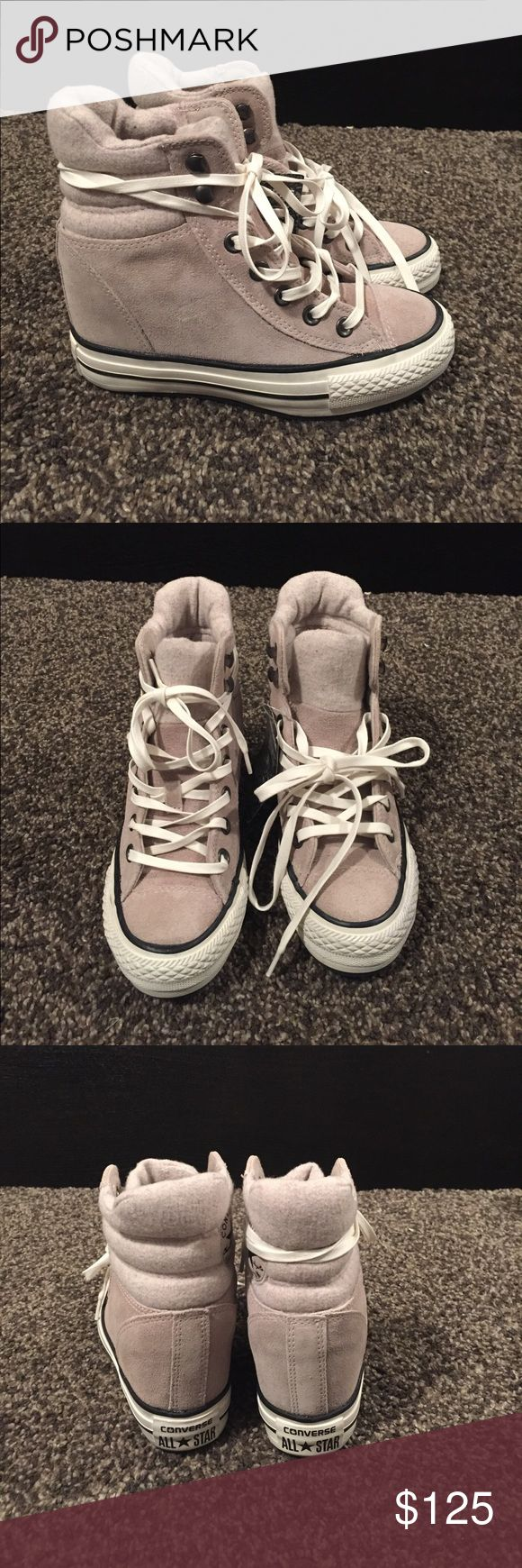 Converse lux suede wedge sneakers Brand new without box but tags attached converse wedge heel plush high tops.  The Chuck Taylor Hi sneakers with upward Platform has a hidden interior completely with suede ankle collar and tab top upholstered in fabric and quilted warm woolly.  Size 6.5 Converse Shoes Sneakers