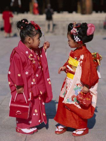 Girls Dressed in Kimono, Shichi-Go-San Festival (Festival for Three, Five, Seven Year Old Children) Photographic Print