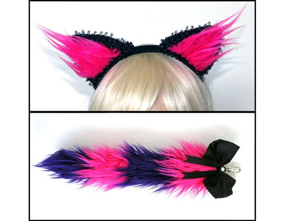 Pink Purple Cheshire Cat Ears and Tail Set Kitty by VinylDolls
