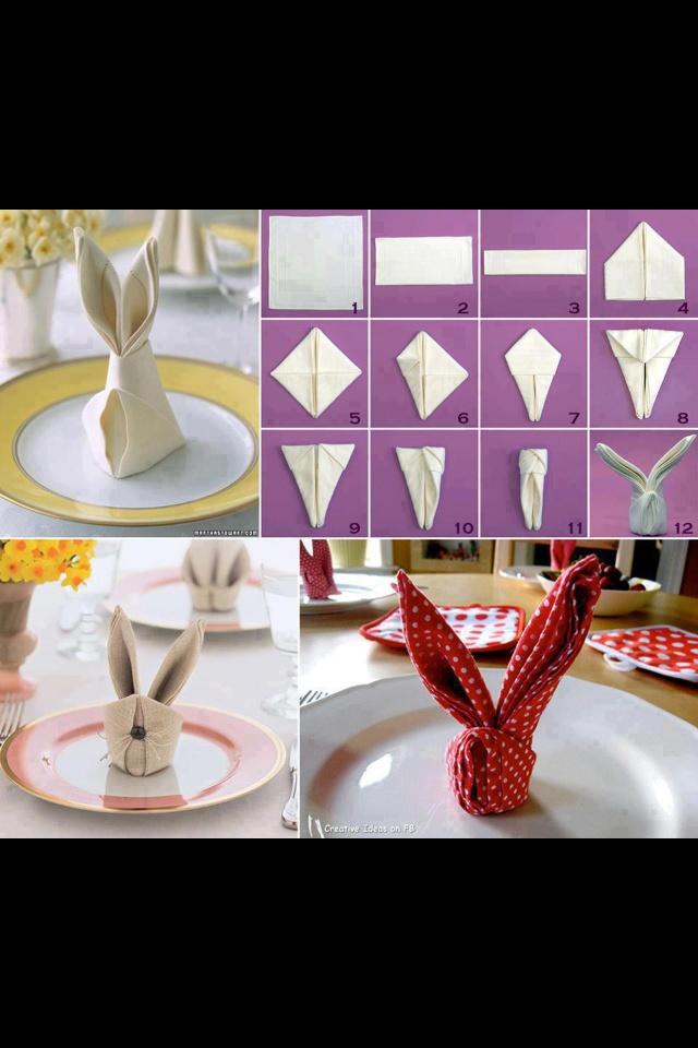 Folded napkin/ bunny