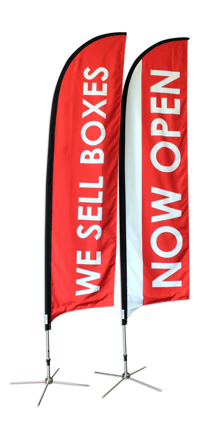 This pair of vibrant flag banners really gets the message across with strong colour and high visibility text. 3.5m Medium Feather Banners by Star Outdoor stand tall and strong and represent your brand message in crowds of thousands. Say it right with Star Outdoor. www.staroutdoor.com.au Call them today on 1300 721 877.