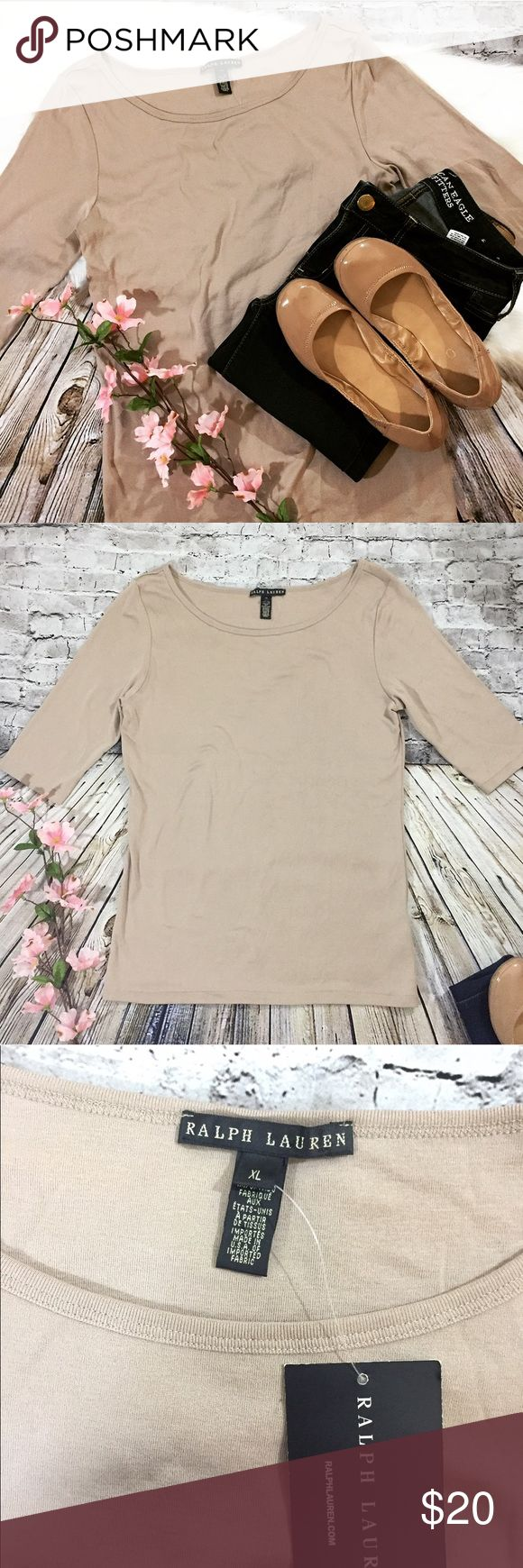 Ralph Lauren Top Light Brown Women's top. Brand new with tags. No stains or rips. Ralph Lauren Black Label Tops