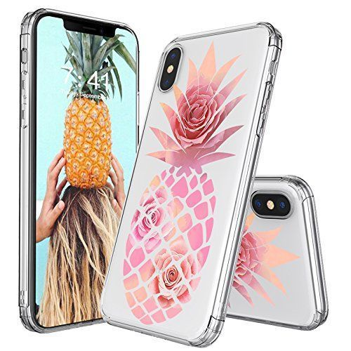 iPhone X Case, iPhone 10 Case, MOSNOVO Pineapple with Rose Flower Clear Design Printed Transparent Plastic Hard Case with TPU Bumper Protective Case Cover for iPhone X / iPhone 10 #Fashion #MOSNOVO #iphone10,