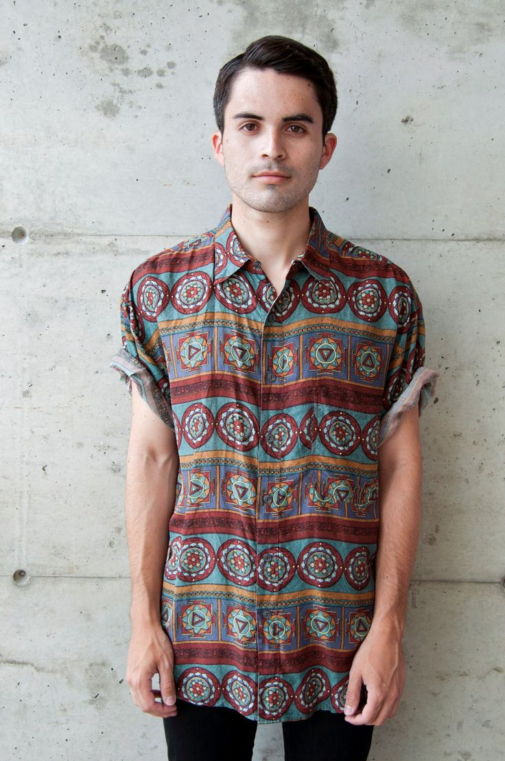 Vintage Abstract African Short Sleeve Silk Button Up Shirt