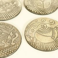A beautifully created set of 4 Pewter coasters with felt backing, protected by resin. Funky tea-pot design,http://annmack.co.za/store/products/category/handmade-gifts-pewter-mosaic/