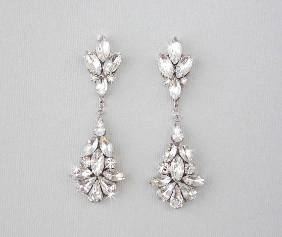 Camille Wedding Earrings Swarovski Crystal Chandelier Ambrosia Bridal