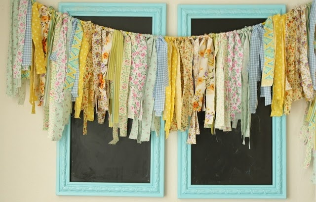 fringe garland. currently looking for some vintage fabrics...