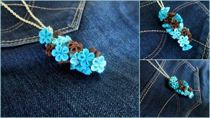 Polymer clay flower pendant Handmade by Hagumi