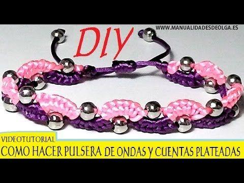 COMO HACER UNA PULSERA DE ONDAS DE 2 COLORES Y CUENTAS PLATEADAS CON NUDOS DE MACRAME. TUTORIAL DIY