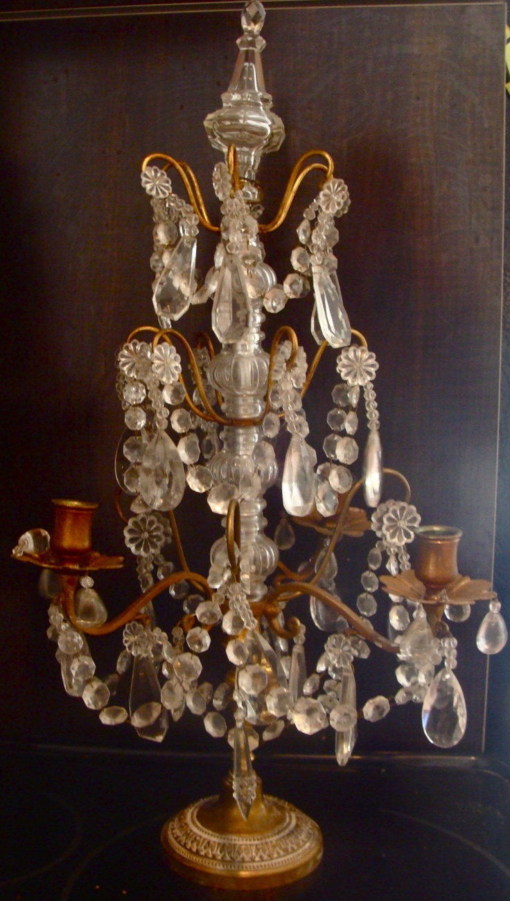 Pretty Antique French Brass Crystal Sconce Candle Holder
