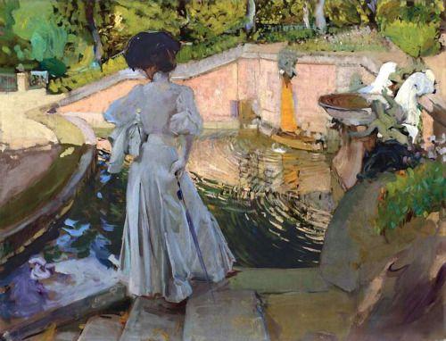 Joaquín Sorolla - Maria mirando los peces, Granja, 1907,