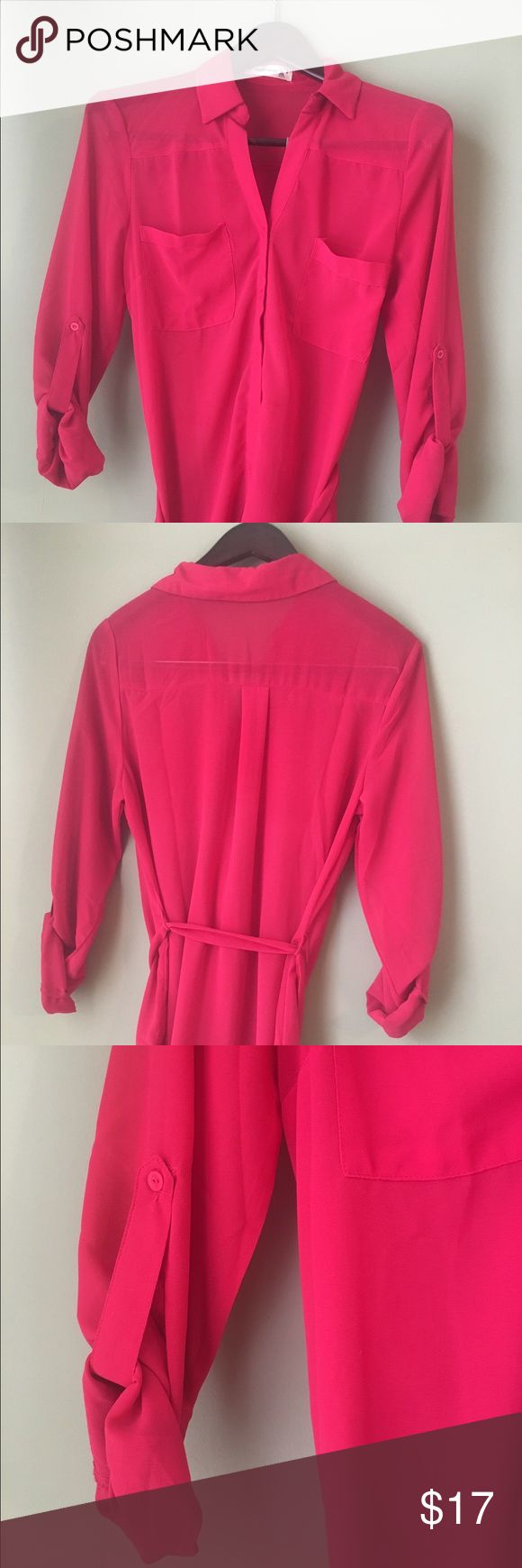 Sheer Hot Pink Long Blouse Adorable Blouse with a tie around the waist. Tops Blouses