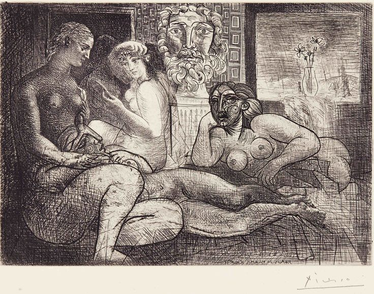 Pablo Picasso,  Femmes entre elles avec voyeur sculpté. Clin d'oeil au bain turc, 1934,  acquaforte su carta Vergé de Montval, cm 34x44,5