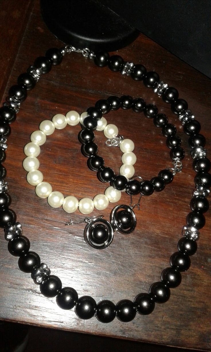 pearl necklace and bracelets and earring set