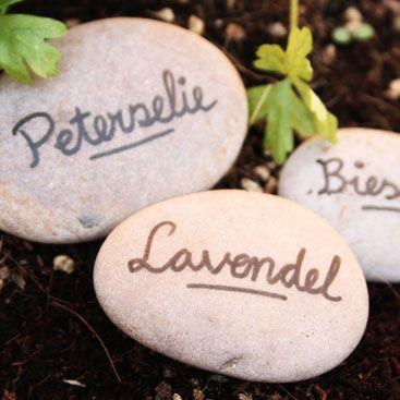 Stenen kruidenlabels - Engelstalige website