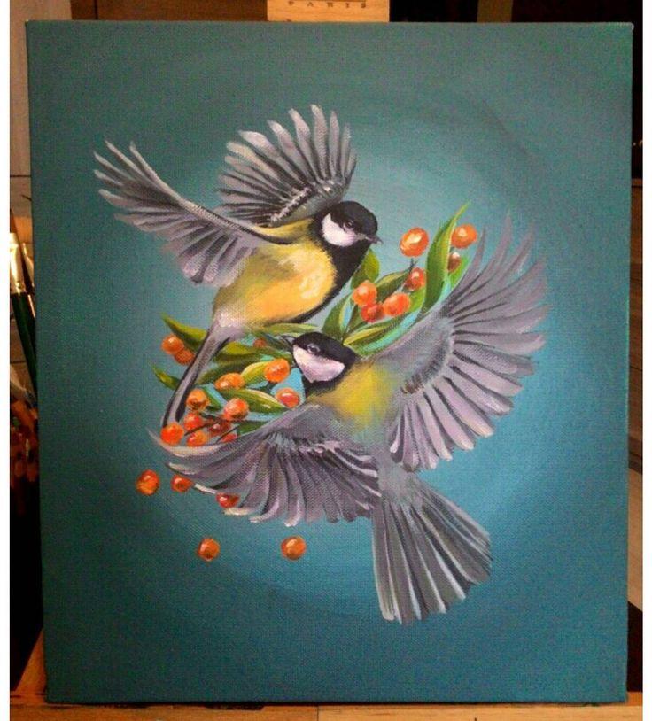 #пичукан #рисование #рисунок  #картина #акрил #холст #краски #арт #art #painting #artist #bird #birds #синица #синицы #птица #птицы #эскиз #птички #спб #санктпетербург #Питер #тату #татуировка #художник #кисть #кисти #ягоды #ветвь