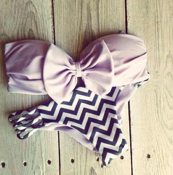 Lilac bow bandeau with navy chevron bottoms. #preppy #bikini