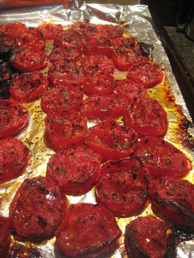 Roasted tomatoes to freeze & preserve - really tasty. Good for pizza sauce, pastas or stews etc. I remove the skins , so they are not as 'lazy' as advertised - I don't like cooked tomato skins. I also added garlic, which gives it an awesome flavour.