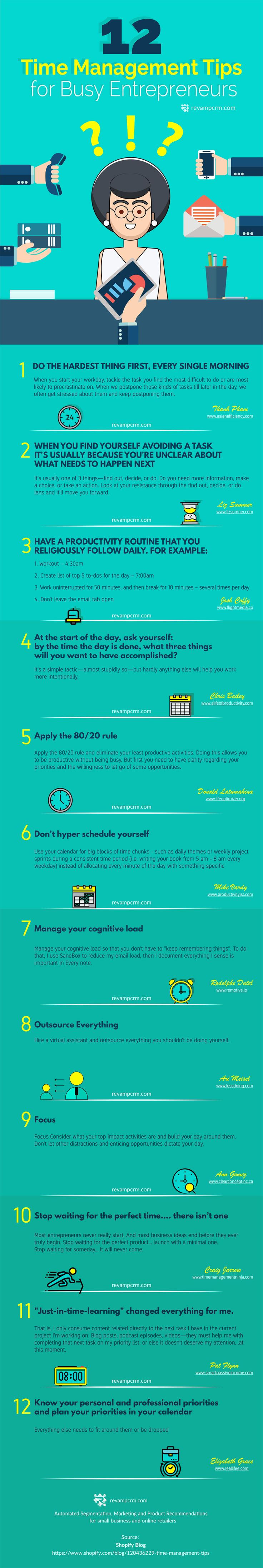12 Time Management Tips For Busy Entrepreneurs #Infographic #Entrepreneur #TimeManagement