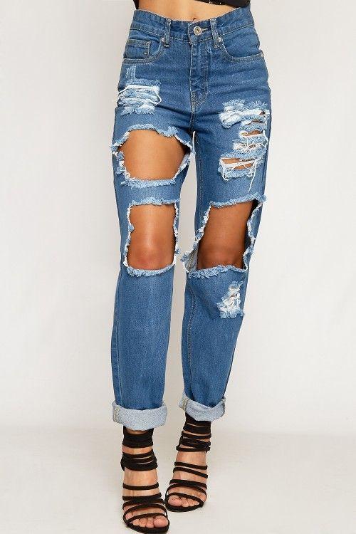 Wanda Extreme Ripped Distressed Denim Mom Jeans