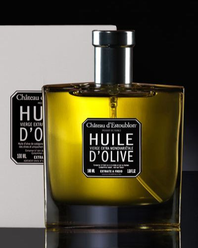 French olive oil. A really refined French edible gift: wonderful olive oil from Provence, France in a stunning perfume like packaging. Chateau d'Estoublon. Flacon spray Couture Etui blanc. Huile d'olive monovariétale.