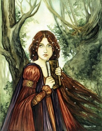 A Celtic woman bears a sacred book containing all the spiritual secrets and wisdom of the Druid priests. Nimue by Denise Garner